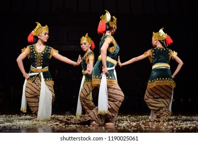 "Surakarta, Indonesia (December 12, 2017). ""Srimpi Gondokusumo"" is a Indonesia-Javanese traditional dance, performed by Insititut Seni Indonesia (ISI) Surakarta during Night Final Exam Performance."