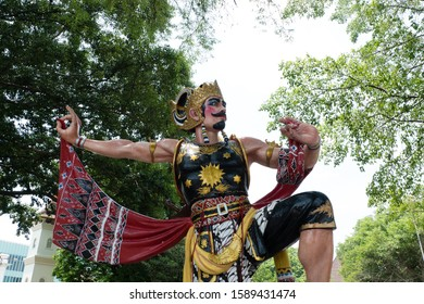 Surakarta, Indonesia - December 3 2019: Iconic Statue of Gatotkaca or Javanese Mythological Warrior in Surakarta, Indonesia, during the Day