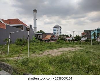 Surakarta, Indonesia - Februari 6 2020: A Vacant Yard to Play Football at Surakarta, Central Java, Indonesia