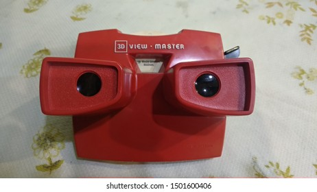 Surakarta/Central Java/Indonesia - September/11/2019: view-master vintage 3d viewer toy has introduced to the wonder of 3D generations of kids for over 75 years