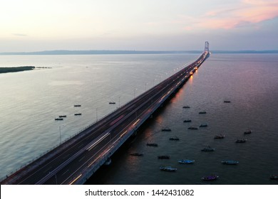 suramadu bridge  it conects surabaya and madura island in east java across madura strait  it's 5.4km in length and opened since June 2009 for public.  in 2019 it's free for public to use