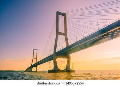 suramadu bridge, surabaya, east java, indonesia.