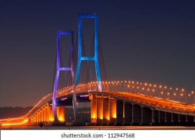 The Suramadu Bridge at Twilight,Surabaya,Indonesia.Is the longest Bridge  in Indonesia.