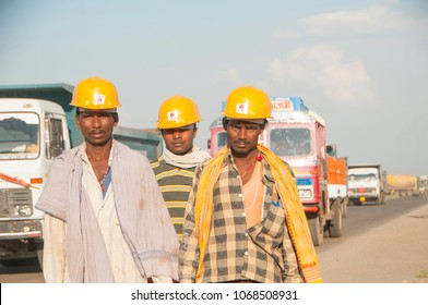 SURAT, GUJARAT, INDIA 23 OCTOBER 2015 : Unidentified worker going back from their work in front of factory at Gujarat.