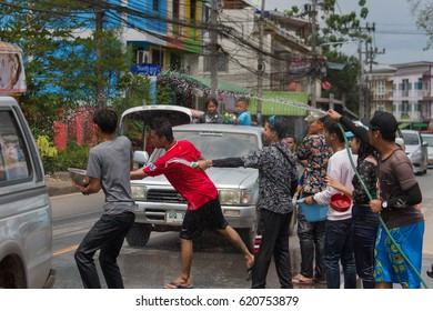 Surat Thaani- APRIL 13,2017: Songkran Festival is celebrated in Thailand as the traditional New Year's Day from 13 to 15 April by throwing water at each other, on 15 April 2017 in Surat Thani.