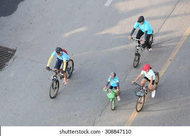 """SURAT THANI, THAILAND - AUGUST 16 : Top view of """"Bike for Mom event"""" on August 16, 2015 in Surat Thani, Thailand. Bike for Mom is the event for celebrates queen's birthday."""
