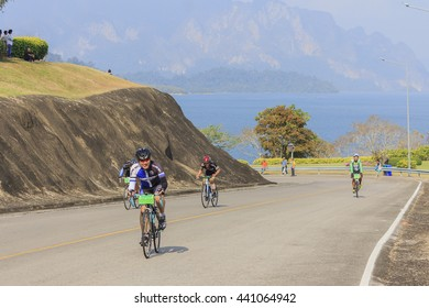 SURAT THANI, THAILAND - FEBRUARY 1: Cyclists compete in the Khao Sok marathon on February 1, 2015 in Surat Thani, Thailand.