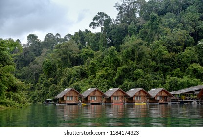 Surat Thani, Thailand : July 1st 2018 : Homestay on Raft at Ratchaprapa Dam and Cheow Lan Lake, Khao Sok ,Surat Thani , Thailand. (One of the most beautiful locations in Thailand)