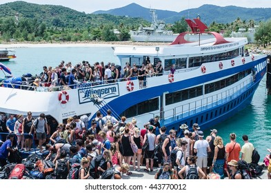 SURAT THANI, THAILAND- MAY 20 : People are from the boat to Koh Phangan, to join the  full moon party ,Pha Ngan island, is the most famous of the top of the Thailand   on April 16, 2016