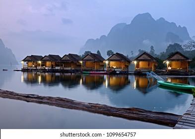 Surat Thani / Thailand - OCT  25, 2015:Nighttime  Homestay on Raft at Ratchaprapa Dam and Cheow Larn Lake, Khao Sok.
