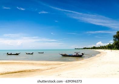 Suratthani lamae beach thai sea boat fisherman