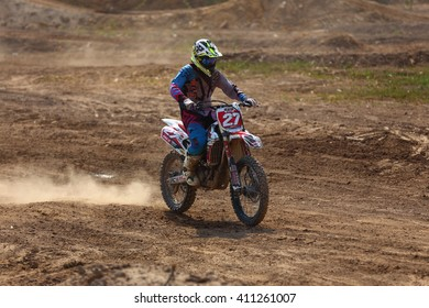 SURATTHANI, THAILAND - APRIL 24, 2016: Unidentified contestant in Motocross Racing and All Model race.Wiang Sa Motocross in Suratthani,Thailand 2016 Round 1.