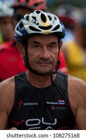 """SURATTHANI, THAILAND - JULY 8: Unknown rider   during """"Suratthani bike race 2012"""" at Suratthani on July 8, 2012 in Suratthani, Thailand."""