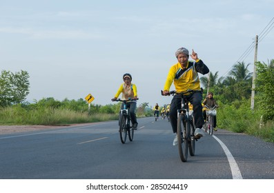 SURATTHANI THAILAND- Jun 7: The campaign for human healthy by bicycles at the Ta Thong Mai village. Jun 7,2015 in surat thani province,Thailand