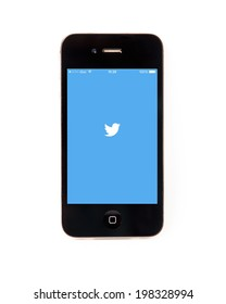 SURATTHANI THAILAND - JUNE 13,2014: Photo of twitter logo on iphone this application  as social network services such as micro-blogging. Users can send text messages longer than 140 characters.