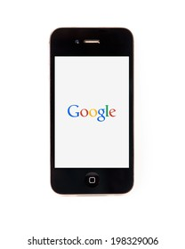 SURATTHANI THAILAND - JUNE 13,2014: Photo of google logo on iphone this homepage popular about data search engine.