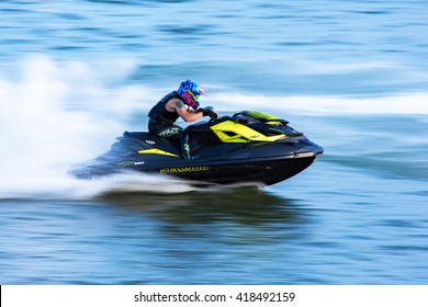 Suratthani, Thailand - May 8,2016: Jet ski training at Tapee river Suratthani City, Thailand.