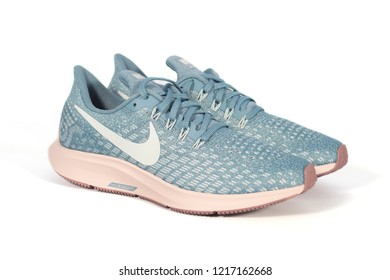 SURATTHANI THAILAND - OCTOBER 31,2018: Photo of women running shoes   Nike model Air Zoom Pegasus 35 ,produced by NIKE, Inc. Based in Beaverton, Oregon, USA