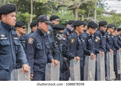 SURATTHANI THAILAND- Sep 16: Polices practice riot controlling using a shield truncheon and tactical controls at police training academy.Sep16,2017 in suratthani province,Thailand
