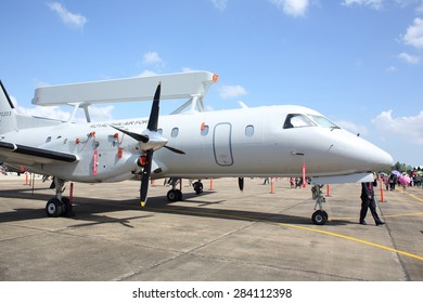 SURATTHANI, THAILAND-JAN 10: Saab 340 AEW&C at Wing7 Airbase on Thai Children's Day on January 10, 2015 in Suratthani, Thailand.