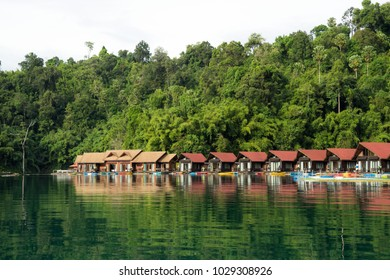 SURATTHANI, THAILAND-NOVEMBER 12 2017: Pair 500 rai floating resort in Ratchaprapa dam.