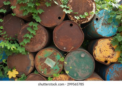 Suratthani,Thailand, July 24,2015:Old steel tank that is broken or expired deterioration in use at the plant get old to be recycled.