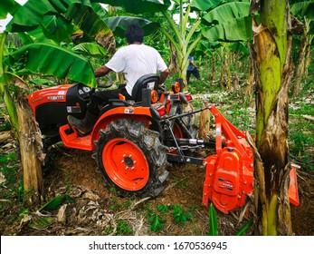 SURATTHANI,TH-January 29:Gardeners are driving a Kubota plowon the January 29,2020 in Suratthani, TH