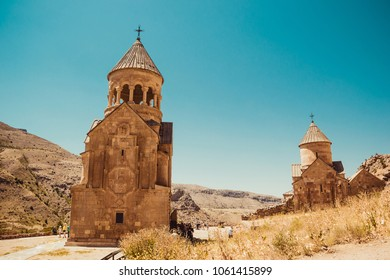Surb Astvatsatsin and Surb Karapet Churches, Noravank. Armenian culture. Architecture concept. Pilgrimage place. Religion background. Travel to Armenia. Tourism industry. Tourist landmark. Copy space