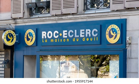 Suresnes, France - April 13, 2021: Exterior view of a Roc Eclerc store. Roc Eclerc is a French network of franchises operating in the funeral directors and marble industry