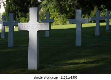 Suresnes, France, June 22, 2018; Burial sites in the Suresnes American military cemetery and memorial for unidentified soldiers from World War Two