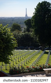 Suresnes, France, June 22, 2018; Burial sites in the Suresnes American military cemetery and memorial for soldiers from World Wars One and Two