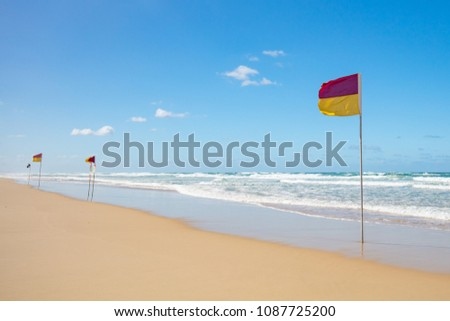 8482c81f9bc Surf Lifesaving Flags On Hot Sunny Stock Photo (Edit Now) 1087725200 ...