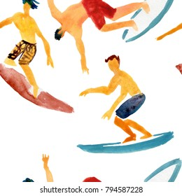 Surf pattern. Surfing seamless background.  Flat design. Young people swimming and have good time.