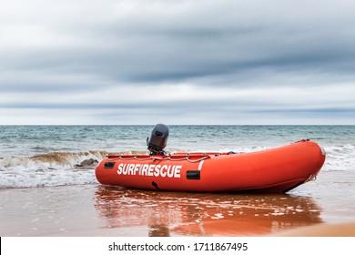 Surf Rescue boat on the beach in Burnie, Tasmania.