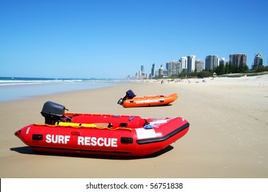Surf rescue boats on Southport beach looking towards Surfers Paradise on the Gold Coast Australia.