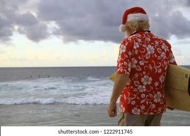 Surf Santa on Beach