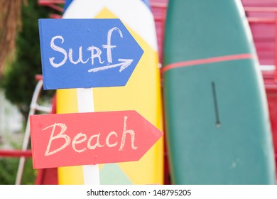 Surf Sign and Beach Sign for summer time