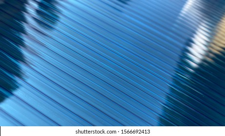 The surface of the blue polycarbonate