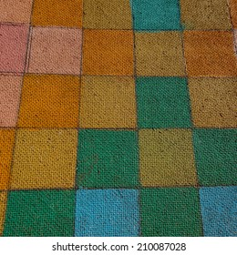 surface of the cardboard painted in different colors, close up