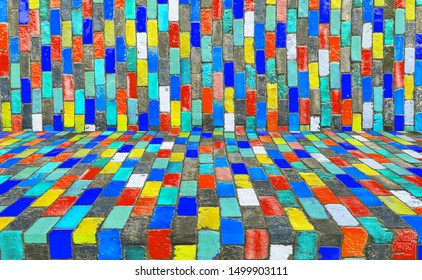 The surface of the ceramic colorful.