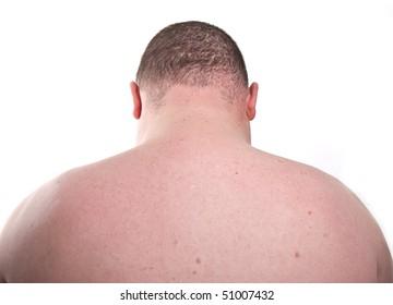 surface close up male man skin back shoulders neck head naked