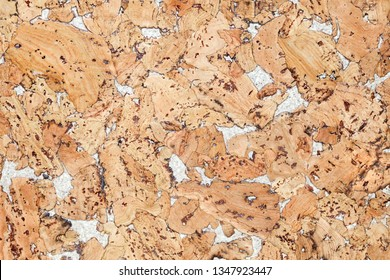 Surface of the decorative panel of cork wood for interior decoration. Background Image Texture