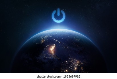 Surface of Earth planet in dark outer space. Earth hour. Our home. Power and electricity. Elements of this image furnished by NASA - Shutterstock ID 1933699982