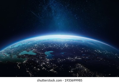 Surface of Earth planet in deep space. Outer dark space wallpaper. Night on planet with cities lights. View from orbit. Elements of this image furnished by NASA