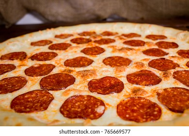 The surface of the finished pizza