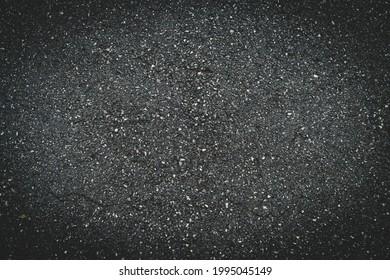 Surface grunge rough of asphalt, Tarmac dark grey grainy road, Texture Background, Top view