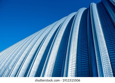 The surface of a industrial metal roof. Abstract background