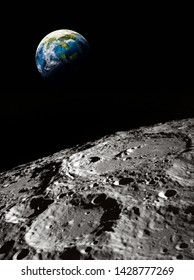 Surface of the Moon. Craters. Planet Earth on the dark background. Apollo space program. Elements of this image furnished by NASA.