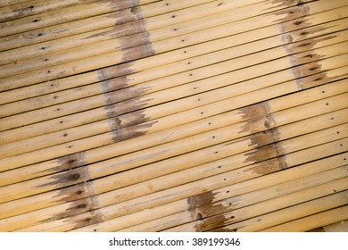 Surface of old bamboo table. Bamboo were weathered and worn off