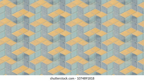Surface Of Old Plastered Floor With Colorful Blue Yellow Geometrical Architecture Symmetrical Rhombus Or Diaper Repeated Pattern Vertical Background Texture Wallpaper